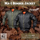 Ma-1 Bomber Jacket Texar The MA-1 jacket (bomber jacket or flight jacket), was designed by the American Air Force in 1950s, to serve as an intermediate weight flight jacket for use all year. It is made with nylon and has a blaze orange lining. It is also reversible. Extremely comfortable and lightweight.- Two large hand pockets with flaps and press studs - Two inner pockets with press studs - Arm zipped pocket with four pen slots - Water resistant - Fabric:100% nylonhttps://militaryshop.ie/37-bomber-jackets#bomberjacket #jacket #autumn #army #military #airsoft #city #ireland #drogheda #tactical #ma-1 #olive #black #menjacket #armyshop #trip #flyers #flightjacket