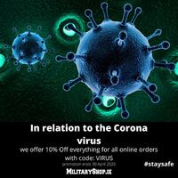 In relation to the Corona virus we offer 10% Off everything for all online orders with code: VIRUS. Promotion ends 30 April 2020.https://militaryshop.ie/#staysafe #survival #bushcraft #trip #trekking #outdoor #texar #airsoft #army #military #hiking #armyshop #ireland #adventure