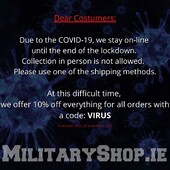 Dear Costumers: Due to the COVID-19, we stay on-line until the end of the lockdown. Collection in person is not allowed. Please use one of the shipping methods. At this difficult time, we offer 10% off everything for all orders with a code: VIRUSwww.militaryshop.iePromotion ends 30 November 2020#survival #bushcraft #trip #trekking #outdoor #airsoft #army #military #hiking #armyshop #ireland #adventure #fishing #camping #gear #tactical #tacticalgear #mountains #walk #nature #forest #woodland #flashlight #covid19 #patrolx@gniewko83 @patrol.x @militaryshop.ie